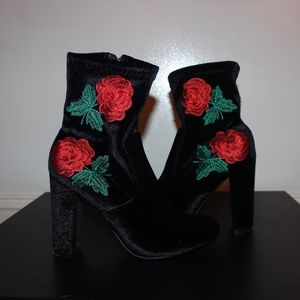 Shoes - Black Suede Rose Heeled Booties